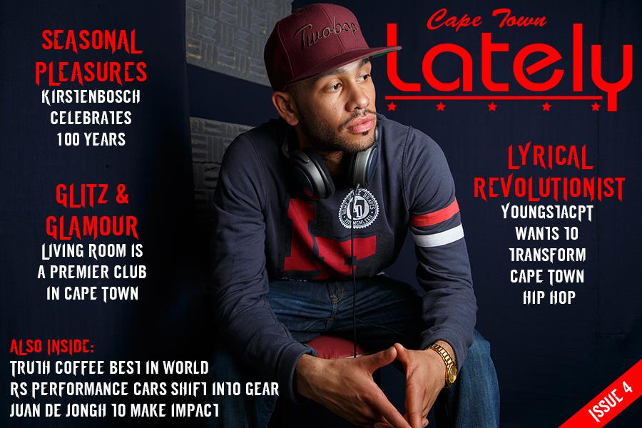 YoungstaCPT featured on Cape Town Lately's digital magazine cover in 2013, Cape Town Lately